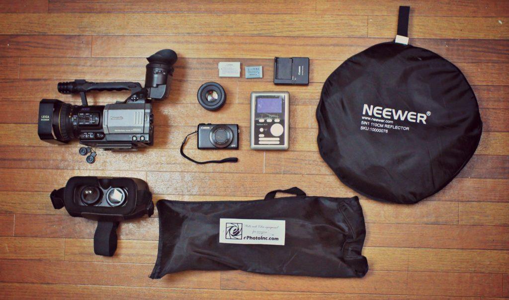 camera gear, gear spread, canon, dvx100a, video gear,