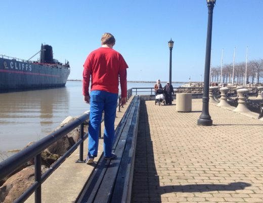 pier, cleveland, man walking on pier, ohio pier,